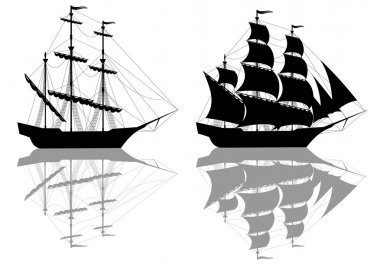 Two black old ships isolated on white clip art vector