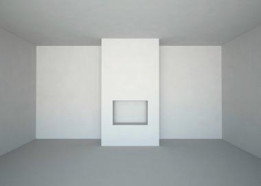 """Картина, постер, плакат, фотообои """"Empty room with fireplace"""", артикул 1035709"""