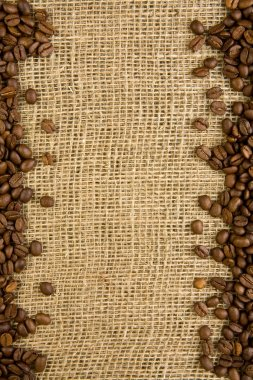 Frame of coffee beans on a sacking