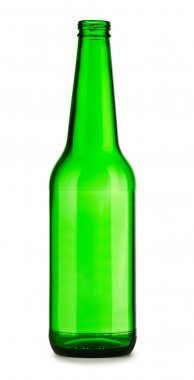 Empty green bottle of beer