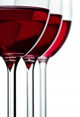 Trhee glass with red wine