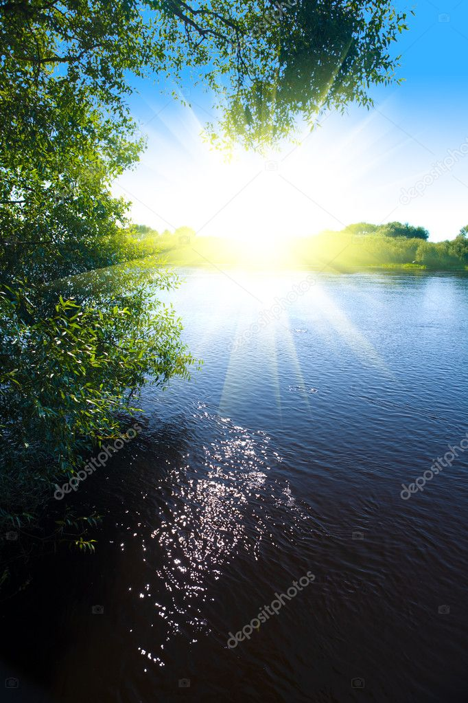 River and sun
