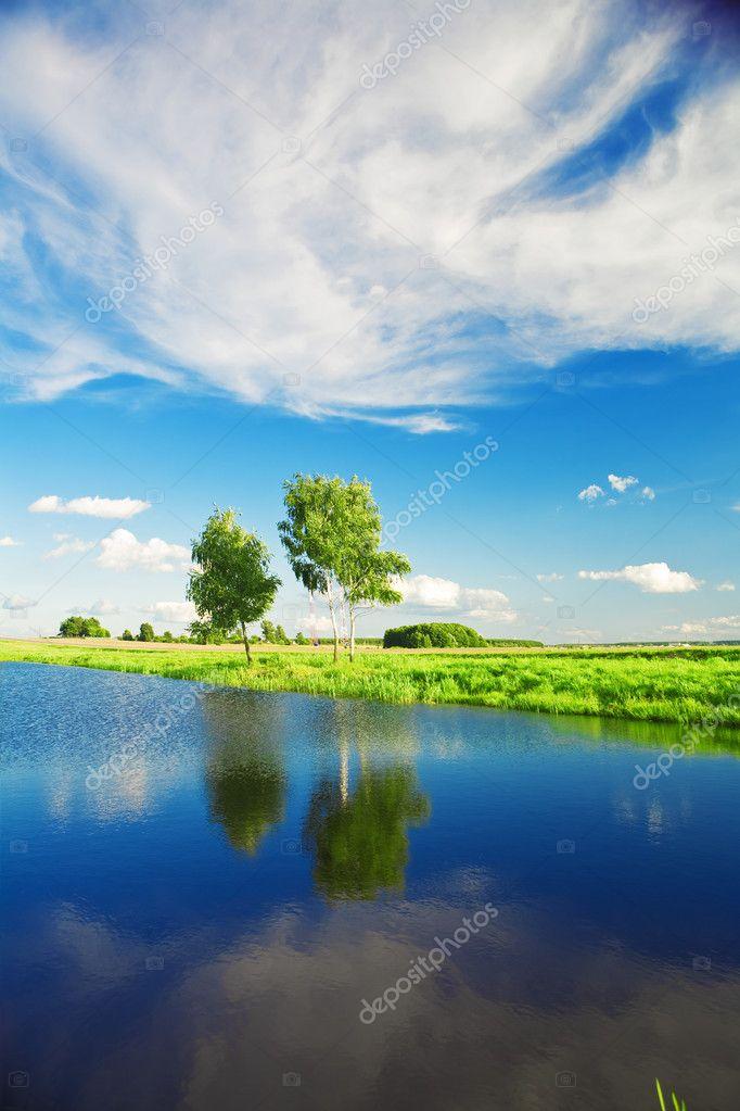Rural lake landscape