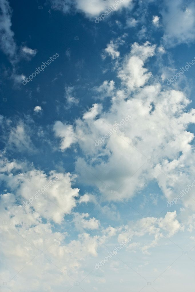 Beauty blue heaven and cumulus clouds
