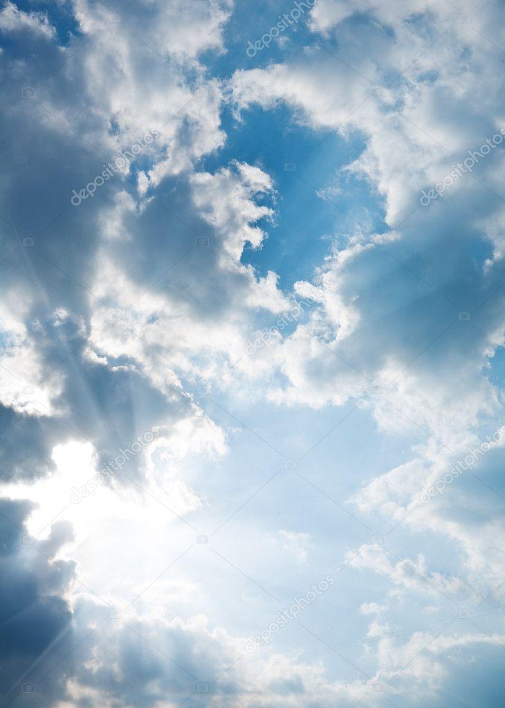 Contrast blue sky with sun