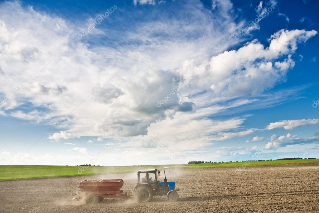 Processing of a field by tractors