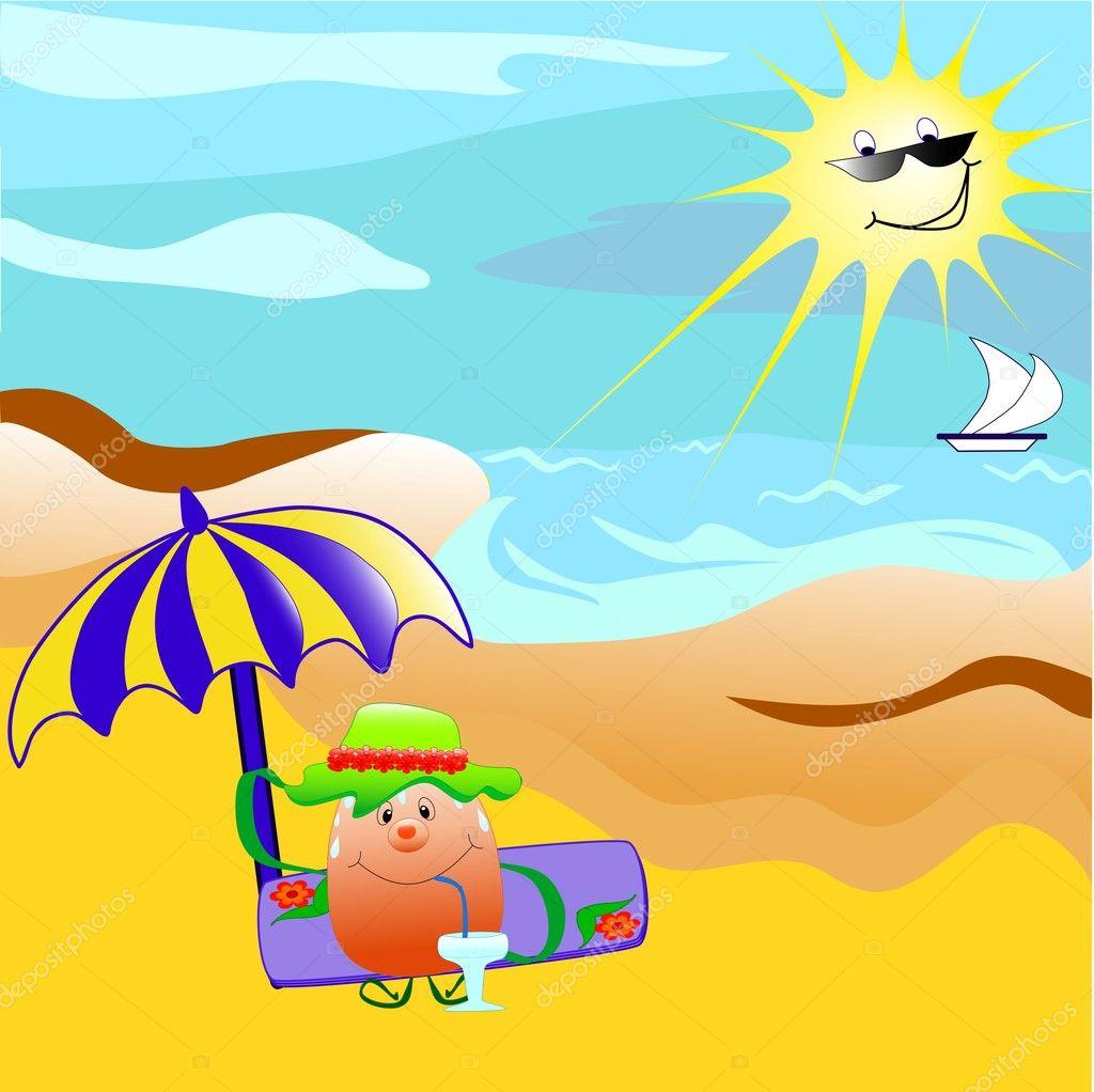 de dessin animé assis sur la plage u2014 image vectorielle 1496868