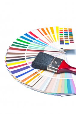 Paint brush on color guide