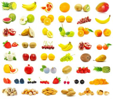 Large page of fruits on white background stock vector