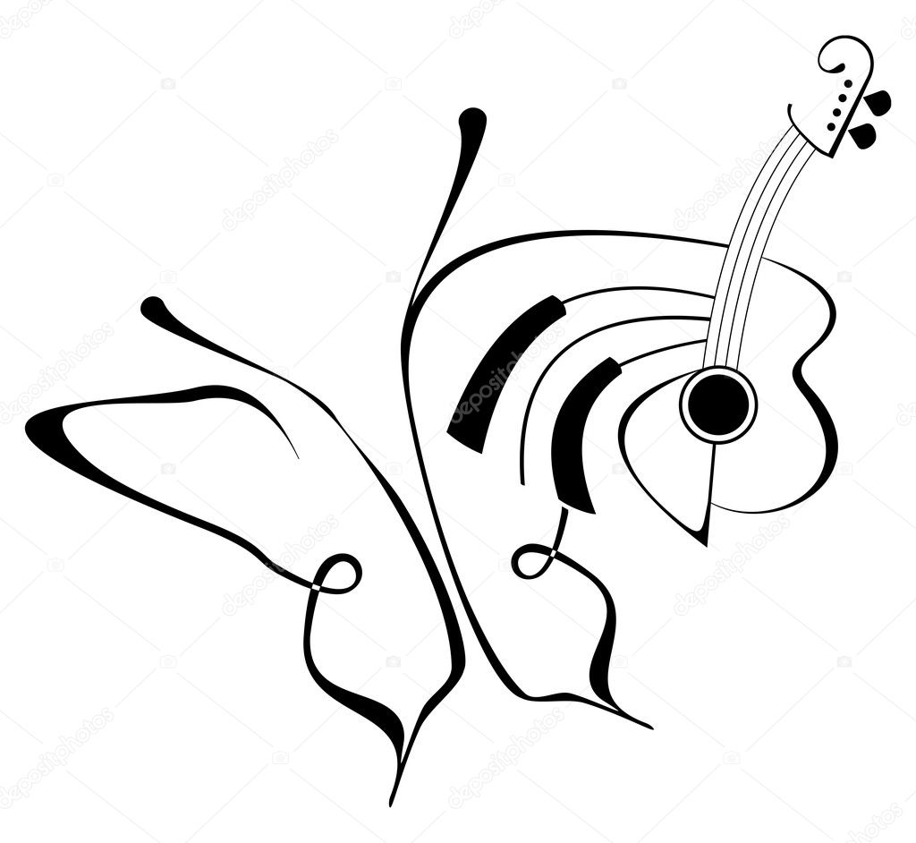 6bf6f9f0e Butterfly music tattoo — Stock Vector © jazzia #1017463
