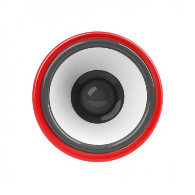 Red loudspeaker isolated