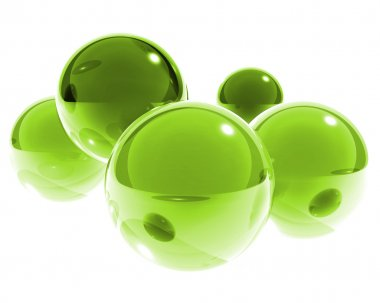 Bright green glass spheres