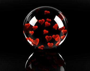 Glass sphere full of hearts on the black