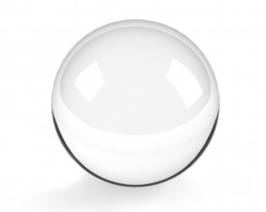 Glass sphere on the white