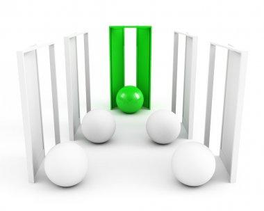 Right door. leadership concept. green