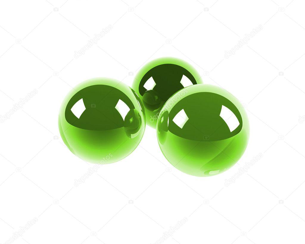 Three bright green glass spheres