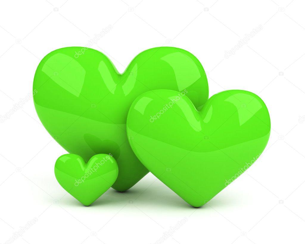 Three green hearts