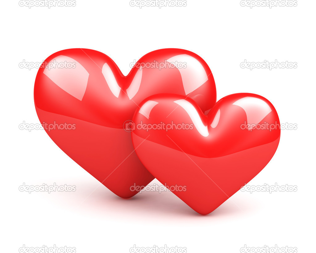 Two red hearts on the white background