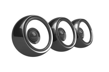 Three black speakers audio system