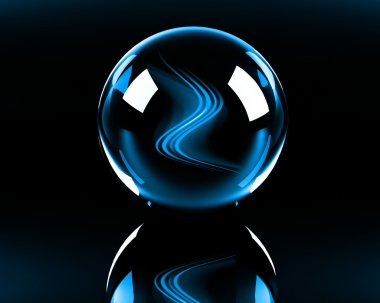Blue abstract waves in the glass sphere
