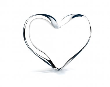 Glass heart on the white background