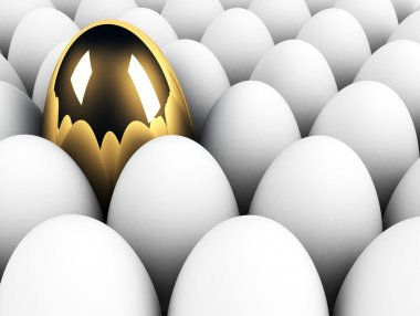 Big golden egg in the crowd