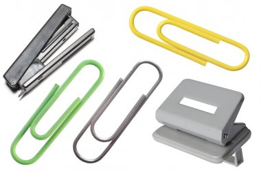 Stapler, puncher and paper clips