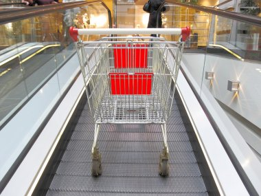 Shopping trolley on the elevator