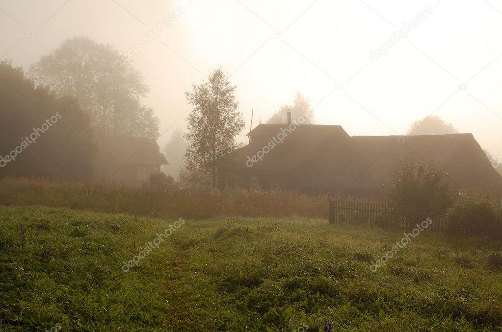 Foggy Sunrise In The Russian Village