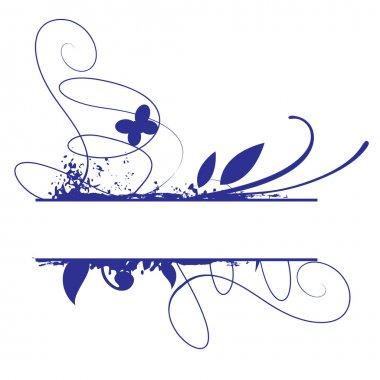 Blue grunge floral vector frame