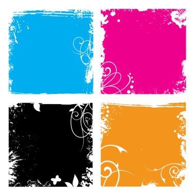 Grunge floral vector backgrounds set