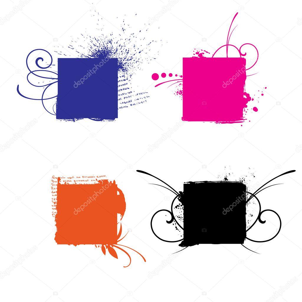 Grunge floral vector shapes set