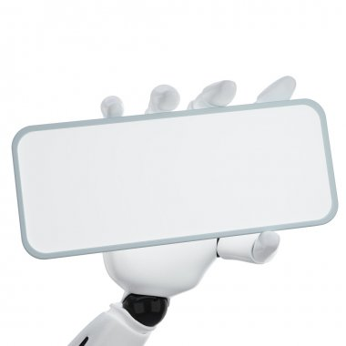 The 3d robotic hand hold blank sign to p