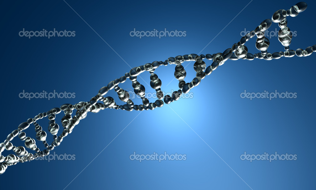 3D render of DNA strands on the blue background