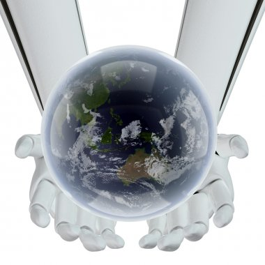 Earth in hands of the technology
