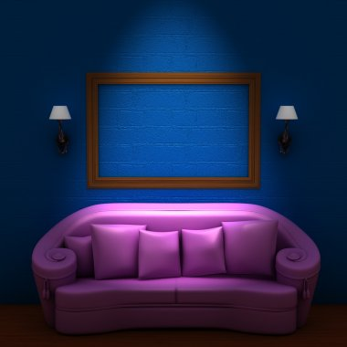 Pink couch with empty frame and sconces