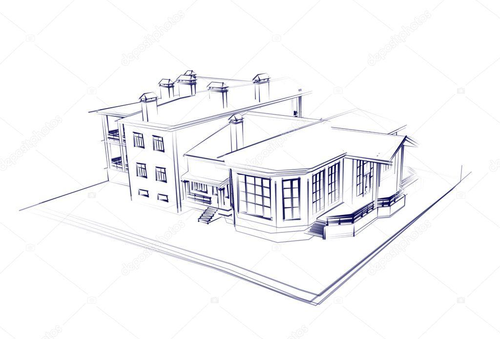 Huis 3d technisch tekenen stockfoto sommersby 1026670 for 3d huis tekenen