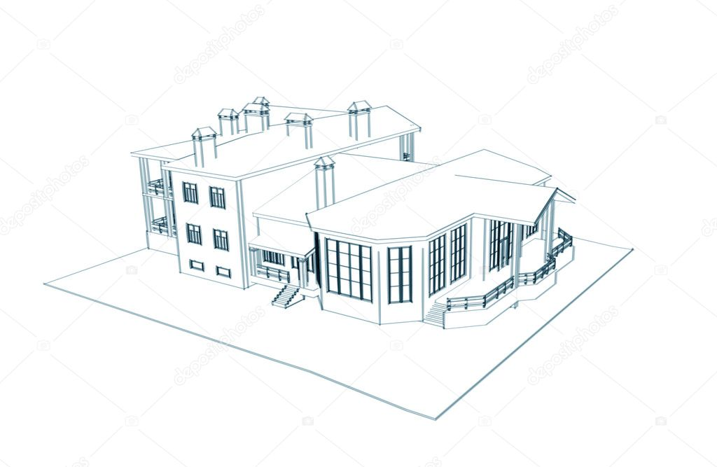 Huis 3d technisch tekenen stockfoto sommersby 1026705 for 3d woning tekenen