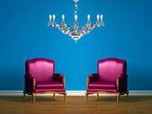 Fényképek lila szék kék minimalista belső