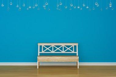 Alone bench near blue wall