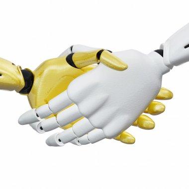 3D rendered handshake of robotic hands.