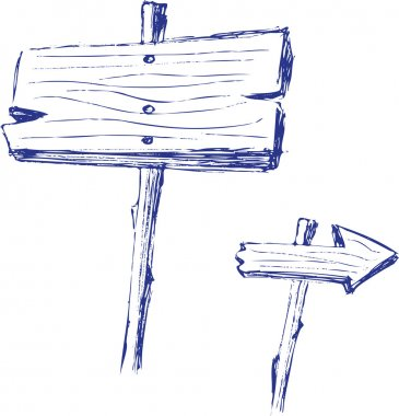 Set of wooden sign
