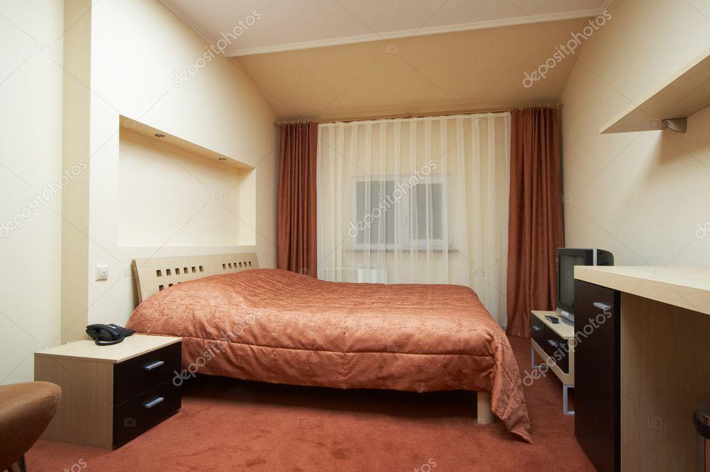 Sypialnia W Odcieniach Czerwieni Zdjęcie Stockowe