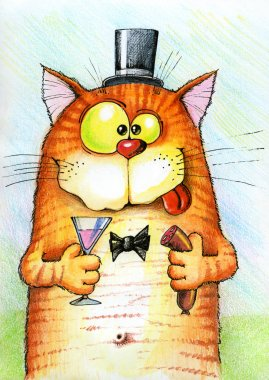 Happy cat holding a sausage and a glass