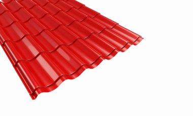 Roof red metal tile