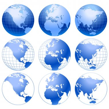Vector globe icons.