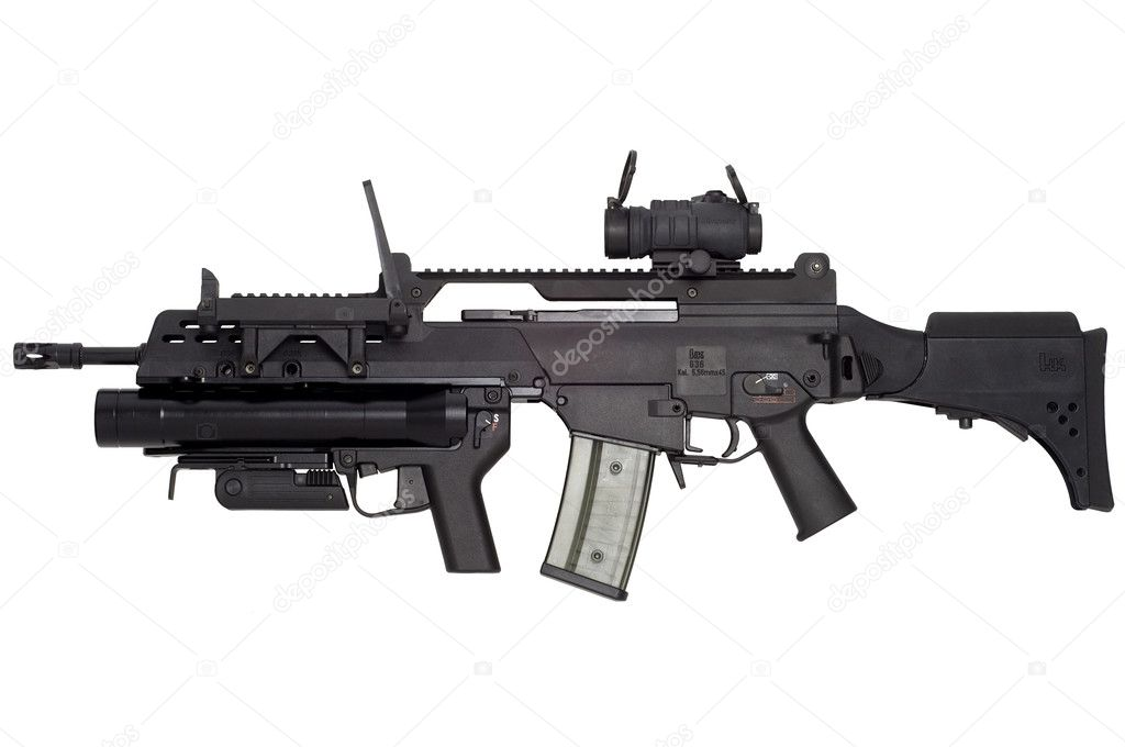 Advanced automatic weapon G36 in armament of NATO and German army. stock vector