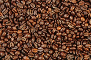 Coffee grains as brown textured background stock vector
