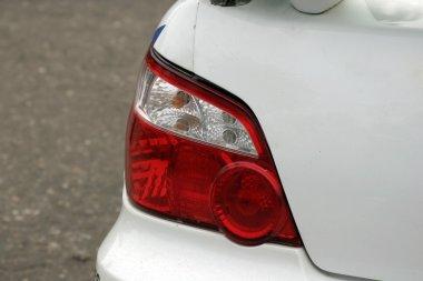 Rally car rear light close-up.