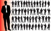 Silhouettes of many business